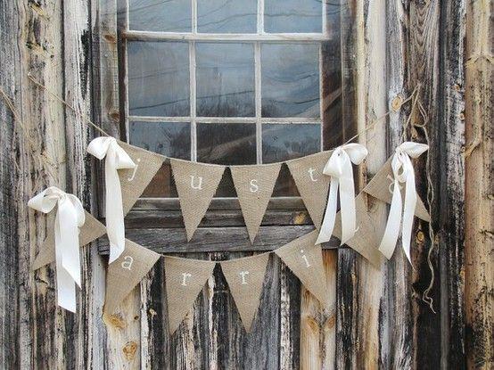 handmade | burlap bunting | i love farm weddings