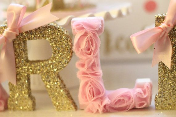 Custom Pink And Gold Wooden Letters