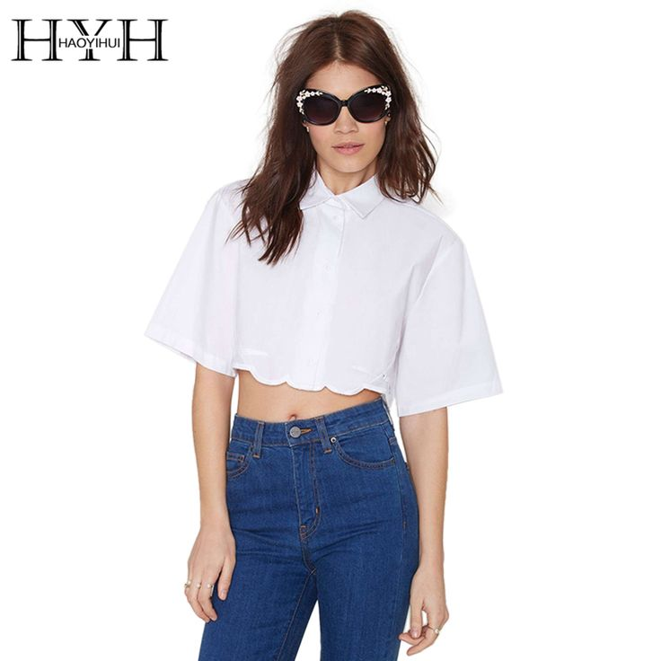 Find More Blouses & Shirts Information about HYH HAOYIHUI Solid White Women Blouse Turn down Collar Hem Half Sleeve Shirt Embroidery Hollow Out Casual Crop Tops,High Quality Blouses & Shirts from HAOYIHUI TREND GAL Store on Aliexpress.com