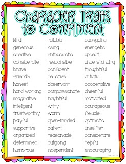 One Lesson At A Time: End Of The Year Class Compliments {FREE!} Character  Traits ListPositive ...  Positive Character Traits