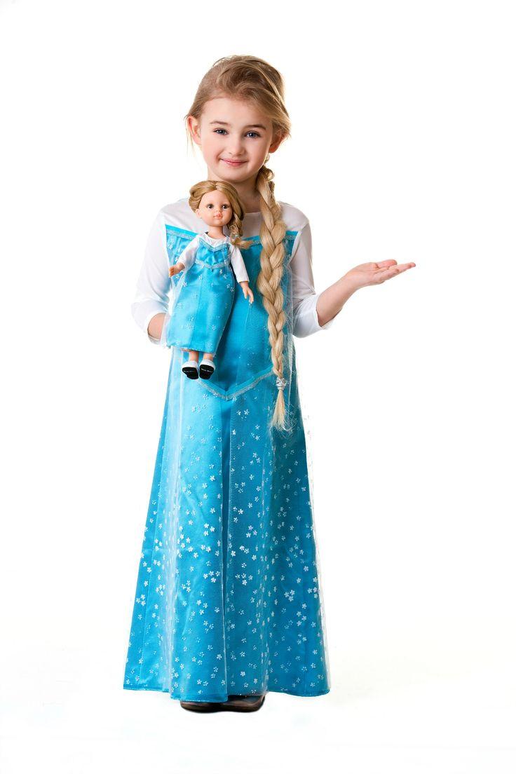 ❄❄❄ Elsa style dress for girl and doll. Sukienka w stylu Elzy dla dziecka i dla lalki. Elsa Kleid für Mädchen und für Puppe. #doll #custom #giftidea #dressforgirl #presentidea #frozen