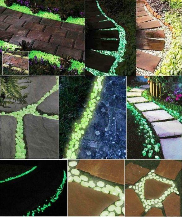 Камнями, покрашенными специальной фосфорной краской можно украсить дорожки.