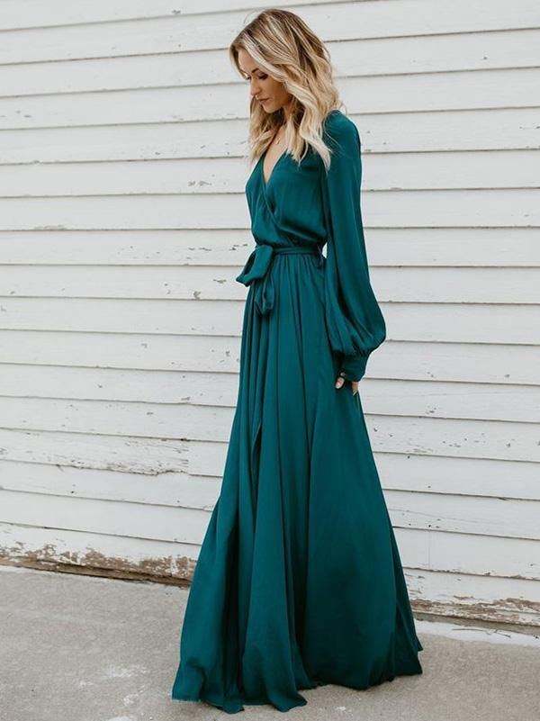 V-neck Long Sleeves Belted Maxi Dress 3
