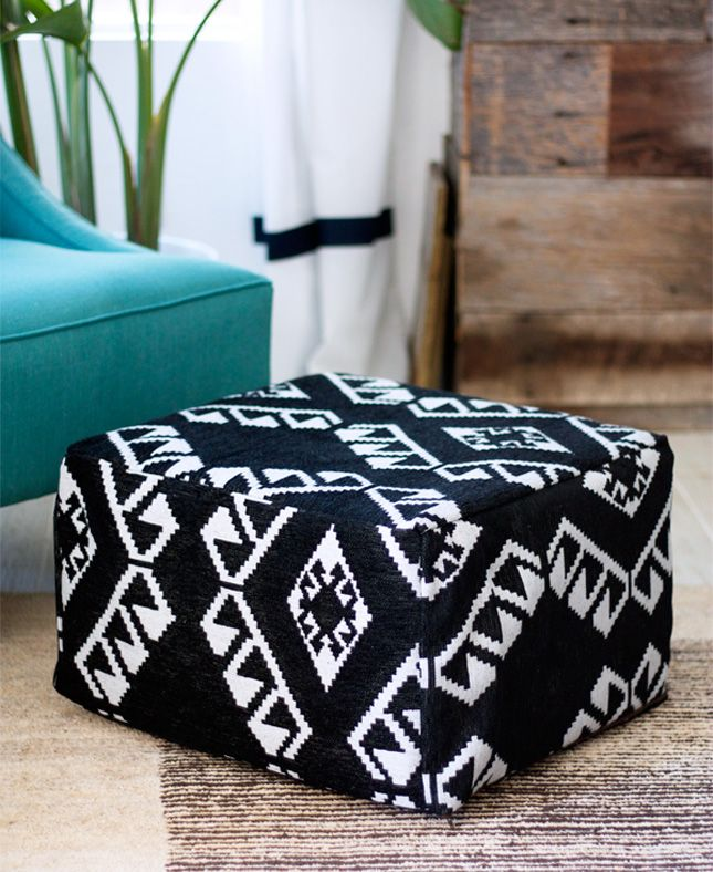 Turn a basic IKEA stool into an awesome square pouf with this easy tutorial.