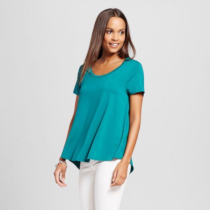 Women's Softest Scoop Tee Windward Green XL - Merona