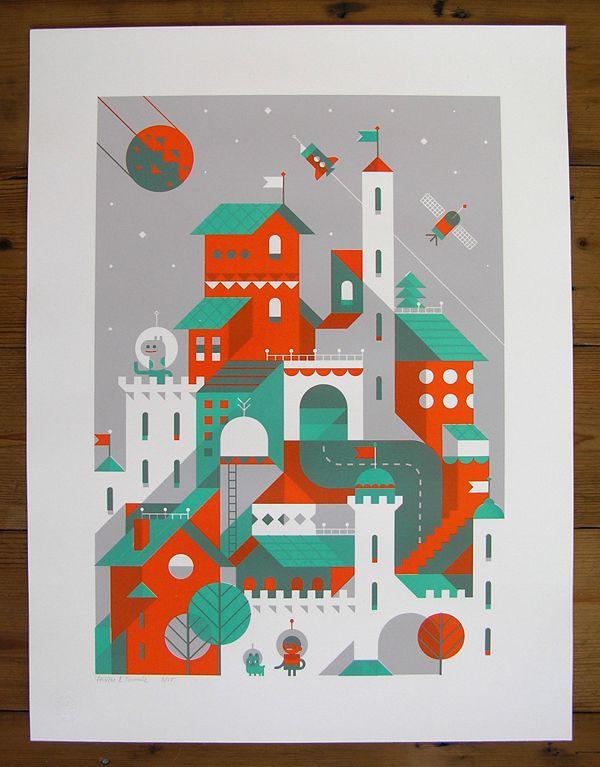 Screen print 'Moonwalking the dog' by Loulou & Tummie .. Pretty cool stuff