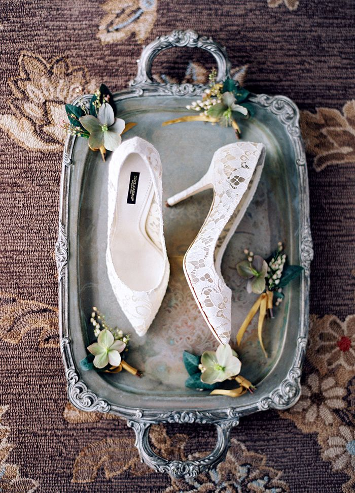 Lace Wedding Heels on a Vintage Tray
