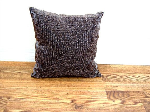 On Sale Vintage Brown Beaded Metallic Square Pillow  Online Vintage vintage clothing home accents new orleans pillow (17.95 USD) by RockySpringsVintage