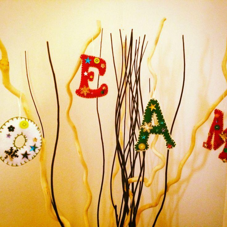 Iniziali pannolenci, decorazioni albero di natale, handmade, idee regalo