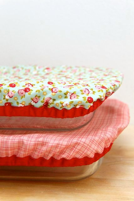 DIY Reusable and Washable Baking Dish Covers - simple idea, probably better lined or quilted to keep things hot/cold
