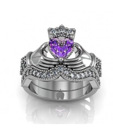 Amethyst Silver Claddagh Engagement and Wdding Ring Set