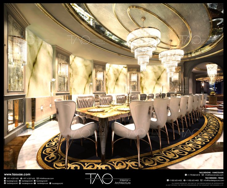 Private palace dining room interior in dubai uae by tao