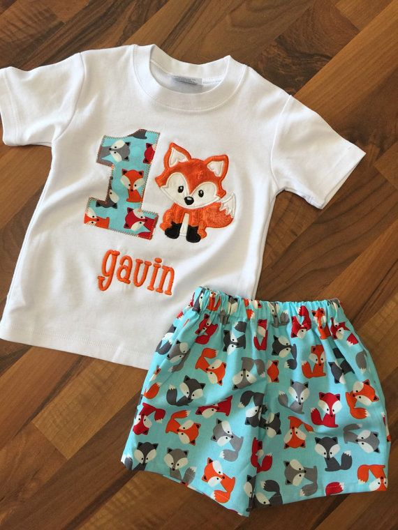 Baby boy fox birthday party outfit first by PeacebyPiece01 on Etsy