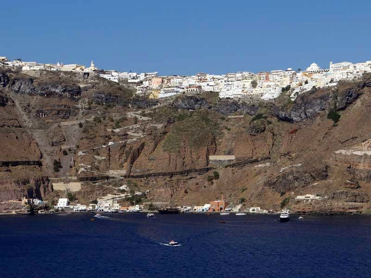 Santorini's Old Port with the zig-zagging donkey trail working its way up the cliff.