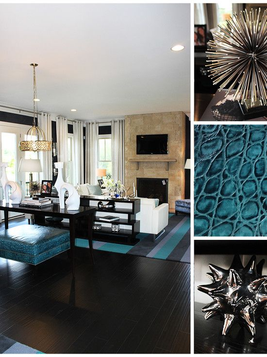 Contemporary teal furniture and teal living room - Black brown and white living room ...