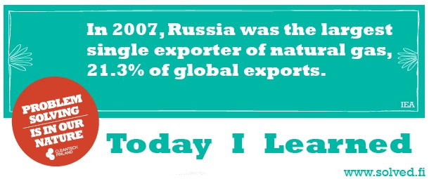 TIL: In 2007, Russia was the largest single exporter of natural gas, 21.3% of global exports.