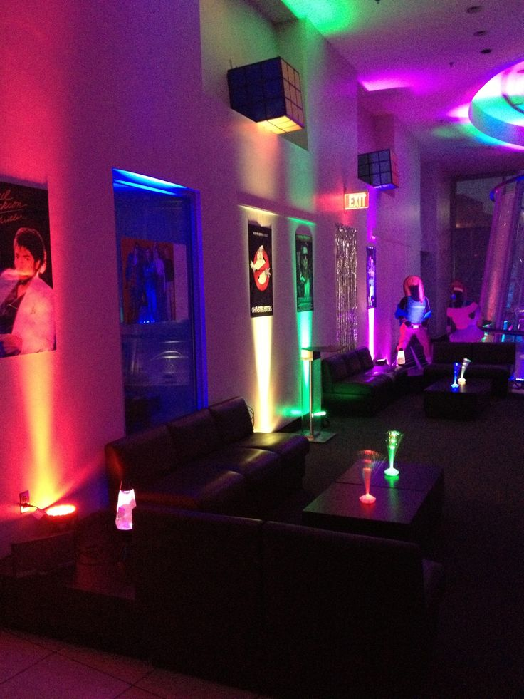 Kirk in Washington, D.C. recently hosted an #80sparty and decided to try #uplighting. Love this colorful look! #Rentmywedding #Weddingideas