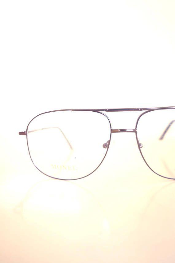 0dd2cd3f2ca Lunettes Anciene Homme - Rose Gold Aviator Glasses - Mens Oversize Aviator  Eyeglasses - Mens Optical Frames - 1980s Authentic Vintage Frames