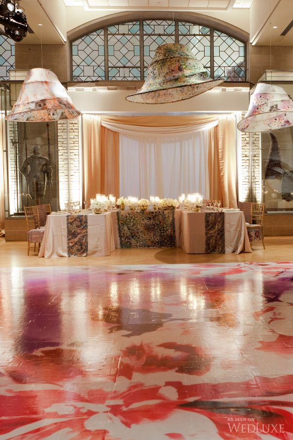 Floral-patterned custom dance floor | Photography by: 5ive15ifteen Photo Company Follow @WedLuxe for more wedding inspiration!