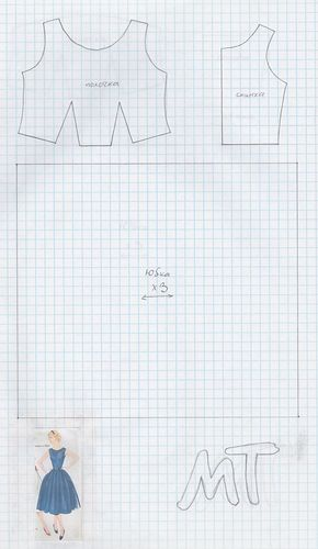 Barbie 50s dress pattern from: Изображение