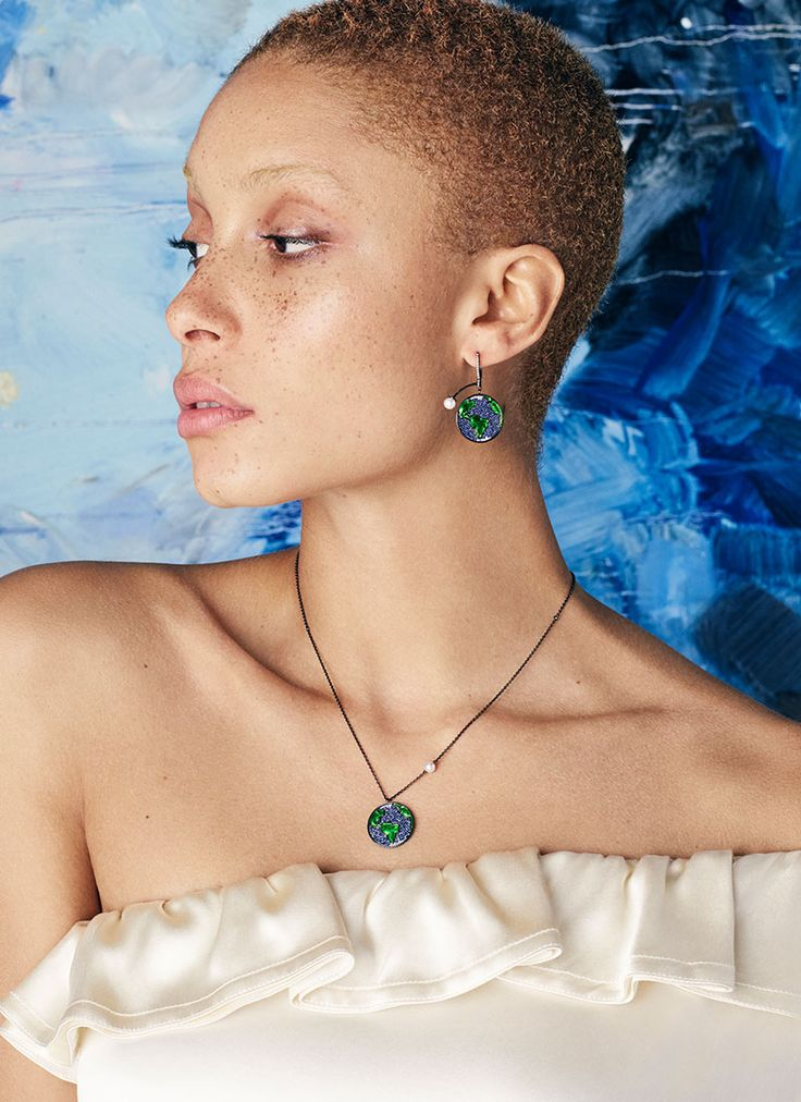 Earth fine jewellery by Astley Clarke modelled by Adwoa Aboah.