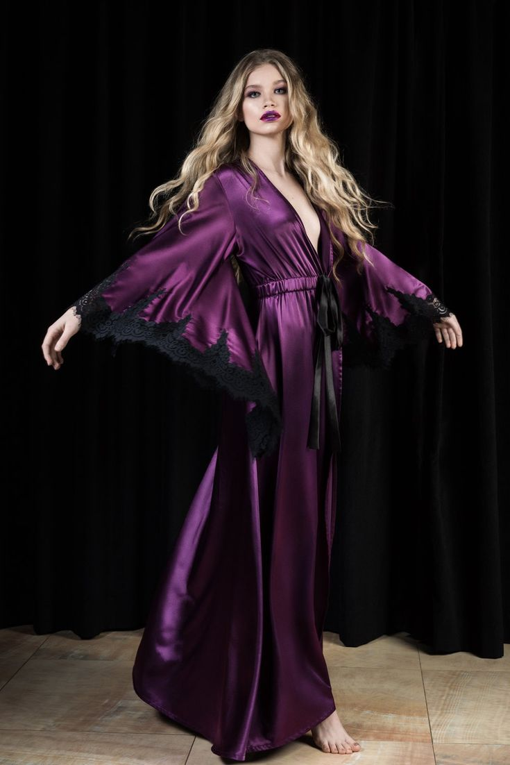 Purple Royal Glamour Floor Length Robe #lingerielove