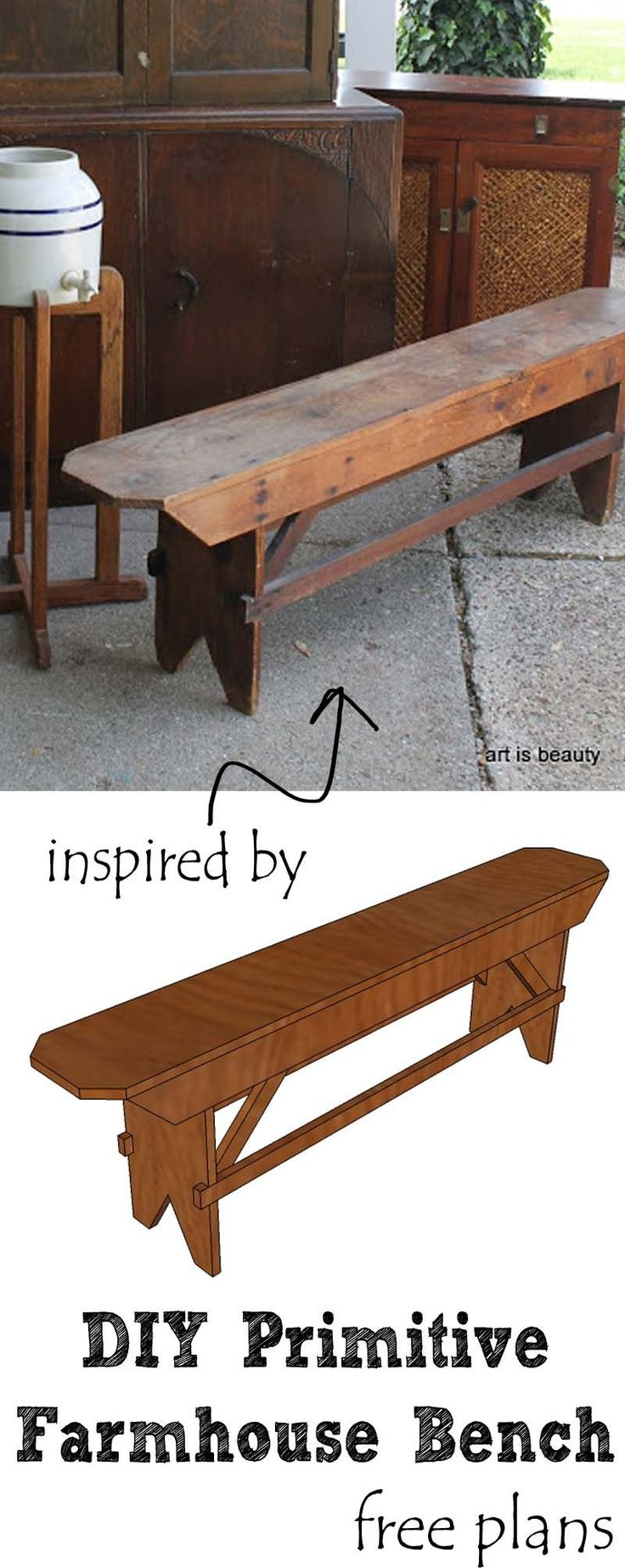 Diy primitive furniture - Build A Beautiful Diy Primitive Farmhouse Bench For Your Farmhouse Table Or Extra Seating Free