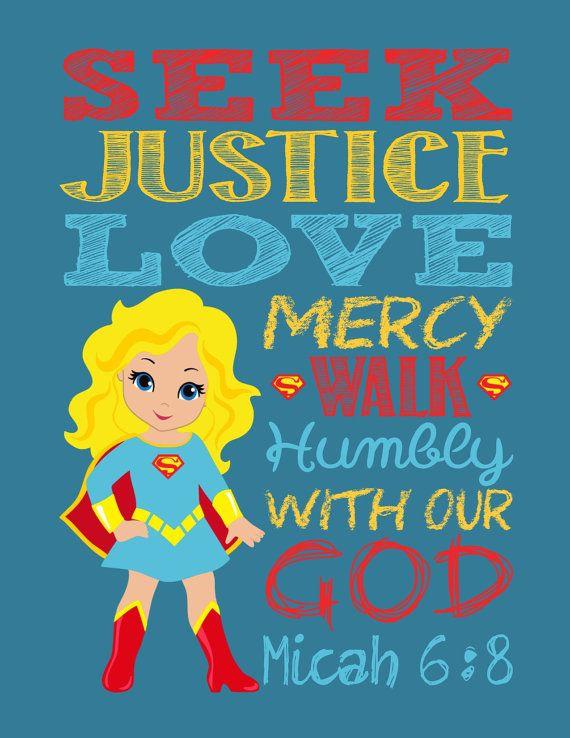 Super Hero Wall Art Christian Print Supergirl by PixiePaperSTL