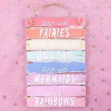 Dance With Fairies Swim With Mermaids Ride A Unicorn Rainbow Bedroom Plaque Sign