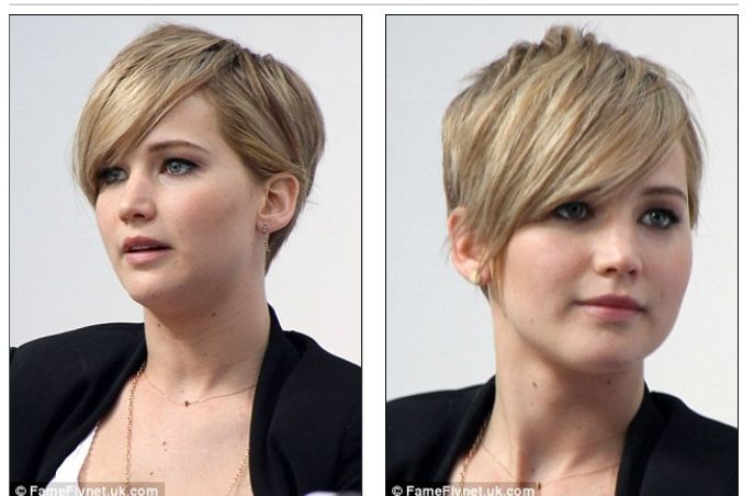 Jennifer Lawrence pixie cut--yeah, I think this is happening in my life soon.