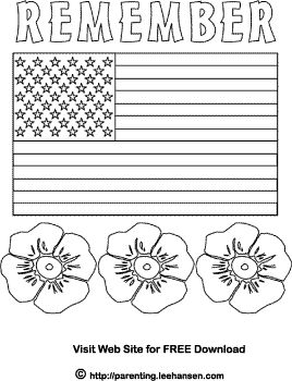 Memorial Day flag and poppies coloring page