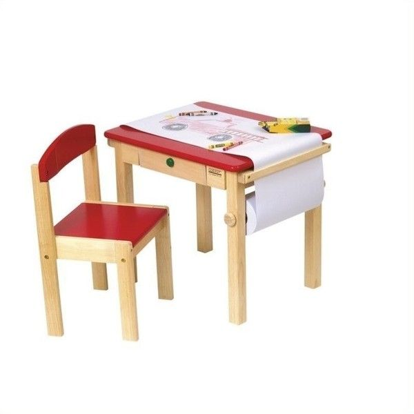 Guidecraft Red Art Table and Chair Set (140 AUD) ❤ liked on Polyvore featuring home, children's room, children's furniture and natural