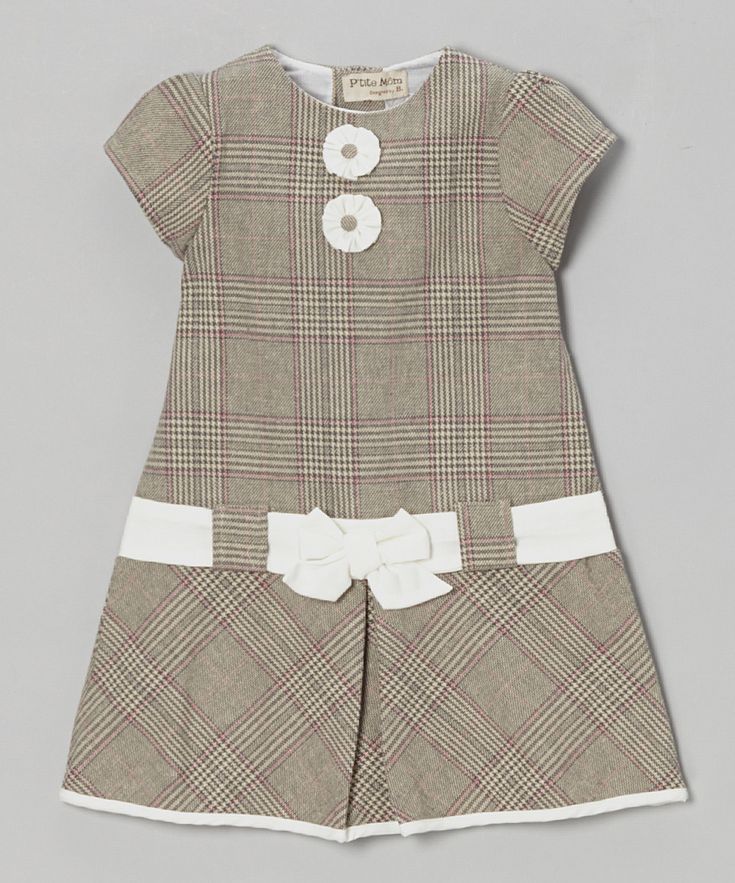 Take a look at this Gray Plaid Bow Cap-Sleeve Dress - Infant & Toddler on zulily today!
