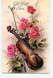 Vintage Postcard Get Well Soon Violin Rose
