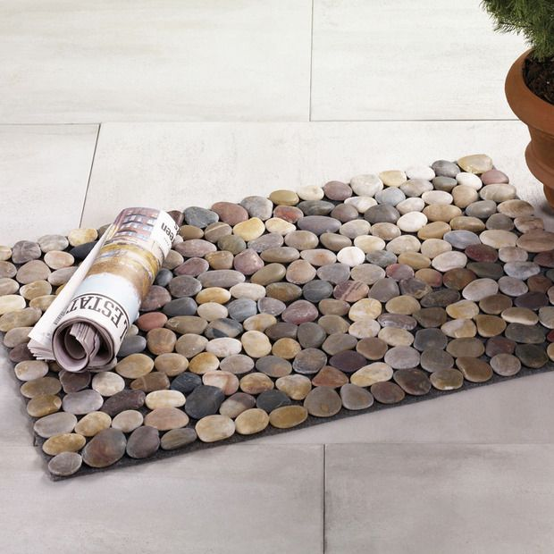 Smooth underfoot warm in the sun river stone mat for River stone doormat