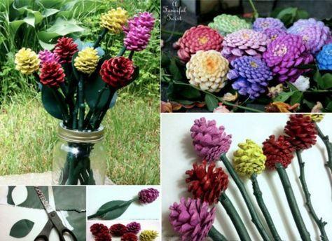 Flores decorativas hechas con piñas