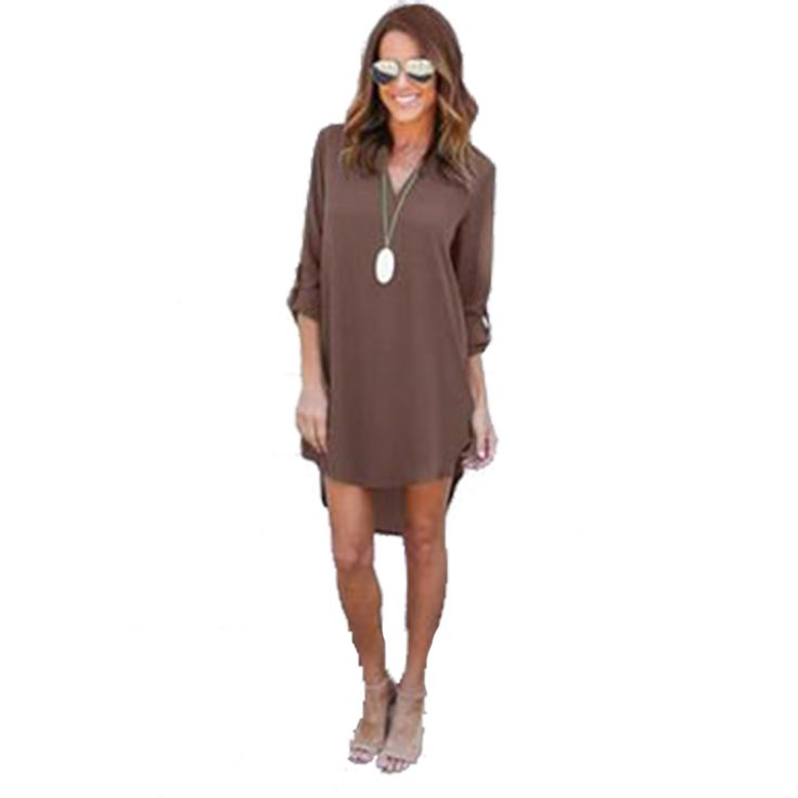 2016 autumn new simple long-sleeved V-neck chiffon short in front dress