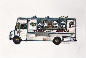 Truck II Linocut Eric Rewitzer