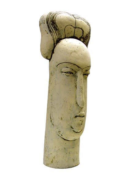 "Stella Zadros, ceramic sculpture- ""Head of townswoman"" from The Magical Krakow series, 2006, 70 cm (h), www.stellaart.com"