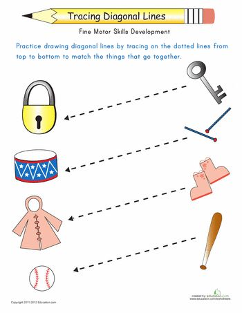 Worksheets: Tracing Diagonal Lines: Match the Objects