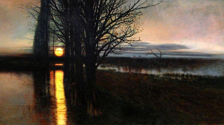 """Stanisław Masłowski [Polish, 1853-1926]: """"Wschód księżyca"""" [Moonrise], 1884 [source]."""