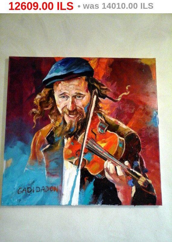 verkoop prijs Joodse gelukkig musicus violist hedendaagse Pallette mes olie op Canvas Joodse kunst schilderij Made To Order Israël gadi Dadon