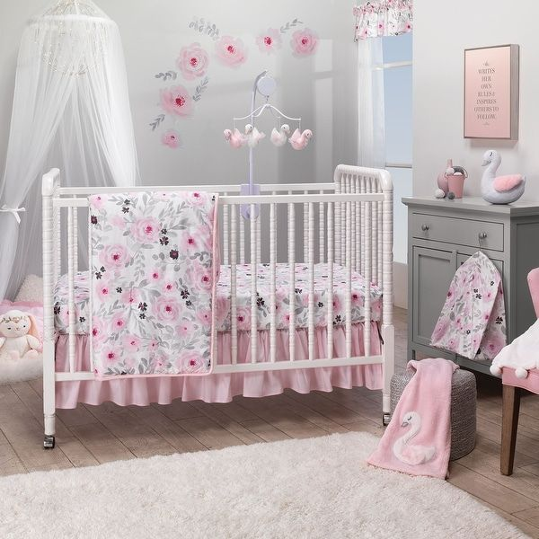 it has modern fabrics that have a boho feel Custom Crib Bedding Set in pink mint and gray
