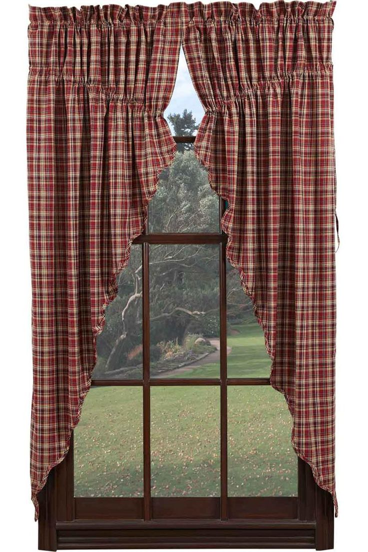Braddock Plaid Prairie Curtain Swag Window Toppers For Kitchen Curtains