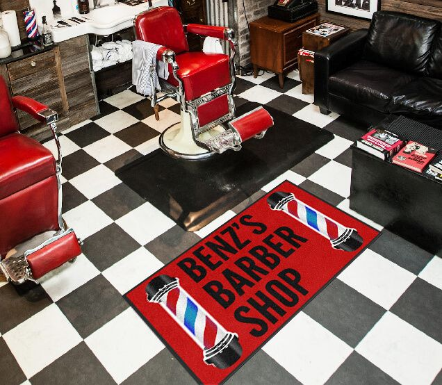 Beautiful Barber Shop Custom Rug