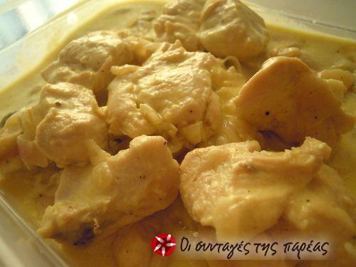 Κοτόπουλο με κρέμα γάλακτος και μουστάρδα #sintagespareas