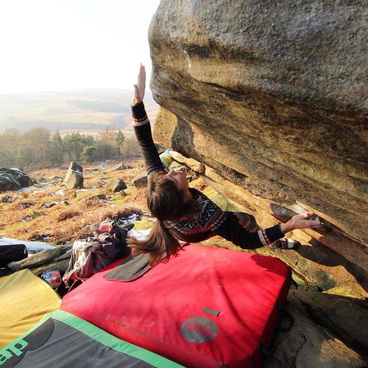 Women outdoor rock climbing