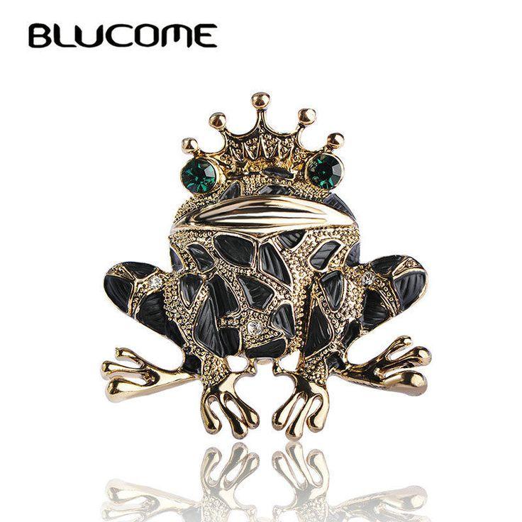 1 шт. Blucome Винтаж черный Лягушка Брошь зеленый Броши для мужчин для женщин #Blucome