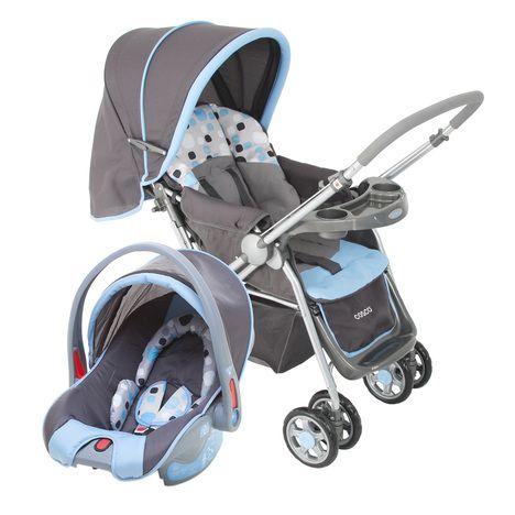 Carrinho de Bebê Passeio Travel System Reverse Cosco 6 Rodas 2 Posições Suporta até 15Kg  Azul e Cinza