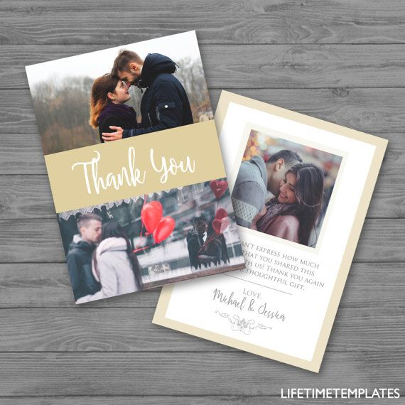 Use this Thank You Card Template to give thanks to all your wedding guests #PSD #InstantDownload